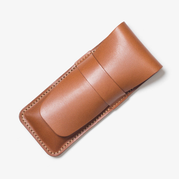 Lather Vertical Pen Case Brown