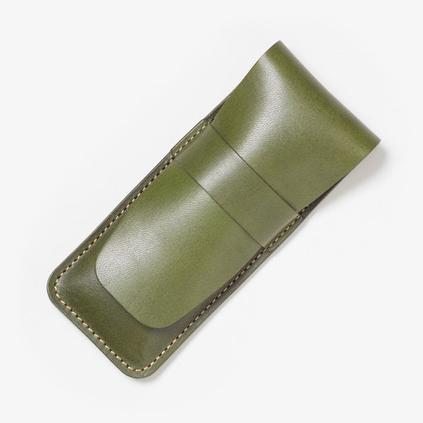 Lather Vertical Pen Case Green
