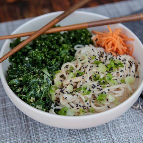 CREAMY GINGER ALMOND SOBA BOWL WITH HAZELNUT PESTO KALE SALAD