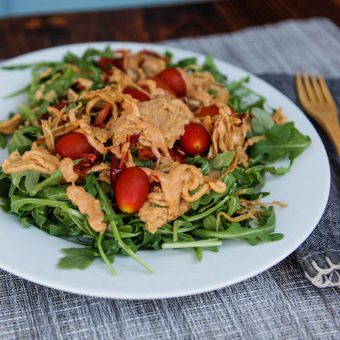 TOSS MY SALAD W/ LIVING RED PEPPER HUMMUS
