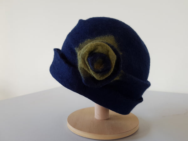 Handmade Felted  Blue/green  Merino Wool Hat - Chloe