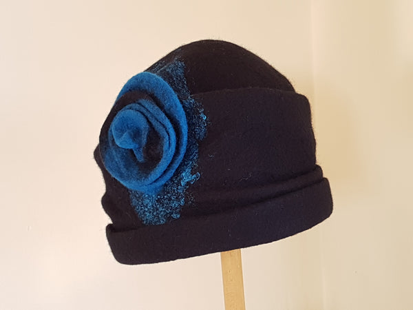 Handmade Felted Merino Wool Black & Teal 1920's style Hat with Rose Detail.
