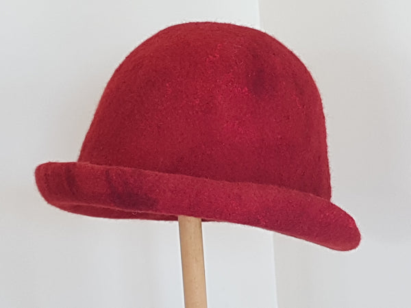 Handmade Merino Wool Felt Red Cloche.