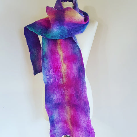 Hand Felted & Painted Purple/Pink/Yellow & Jade Merino & Silk Scarf