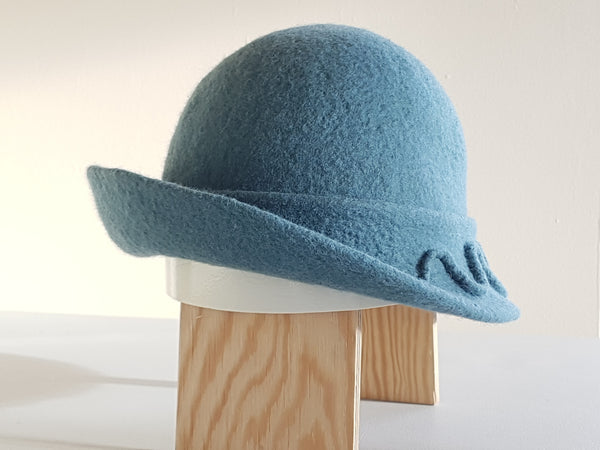 Handmade Green/Teal Merino Wool Felt Cloche Hat