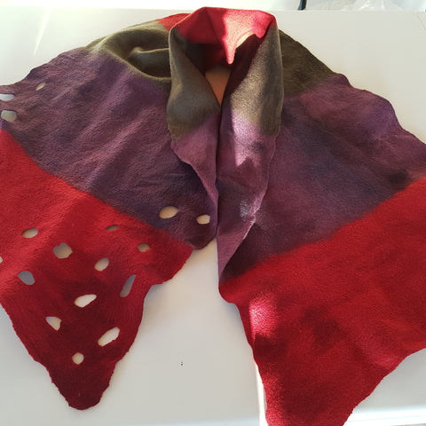 Red/Purple/Green Handmade Merino Wool Hand Felt Scarf/Wrap.
