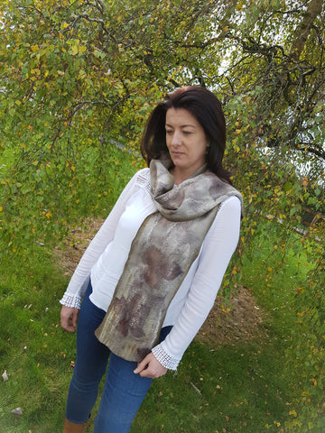 Handmade Merino Wool Purple/Grey Eco Printed Felt Scarf using Blackberry Leaves.