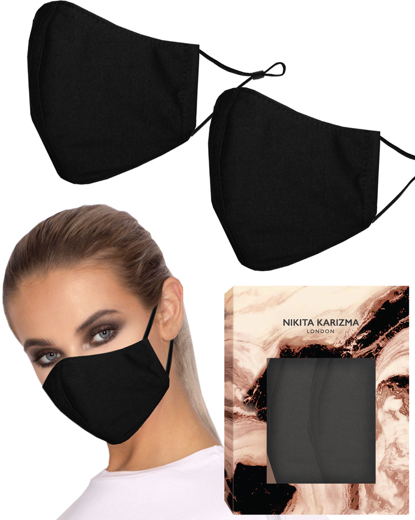 Jersey T-Shirt Face Mask in Black by KARIZMA Fabric Face Mask 2 Masks