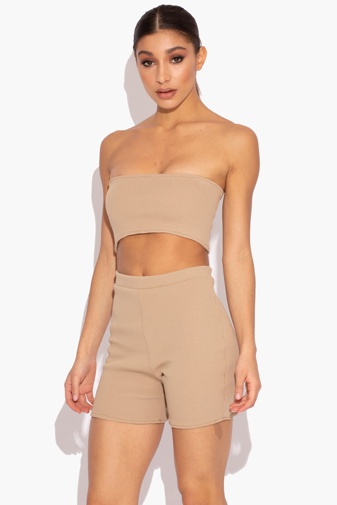 Beige Ribbed Co-ord