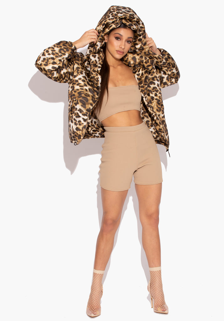 Leopard Print Double Hooded Puffer Jacket