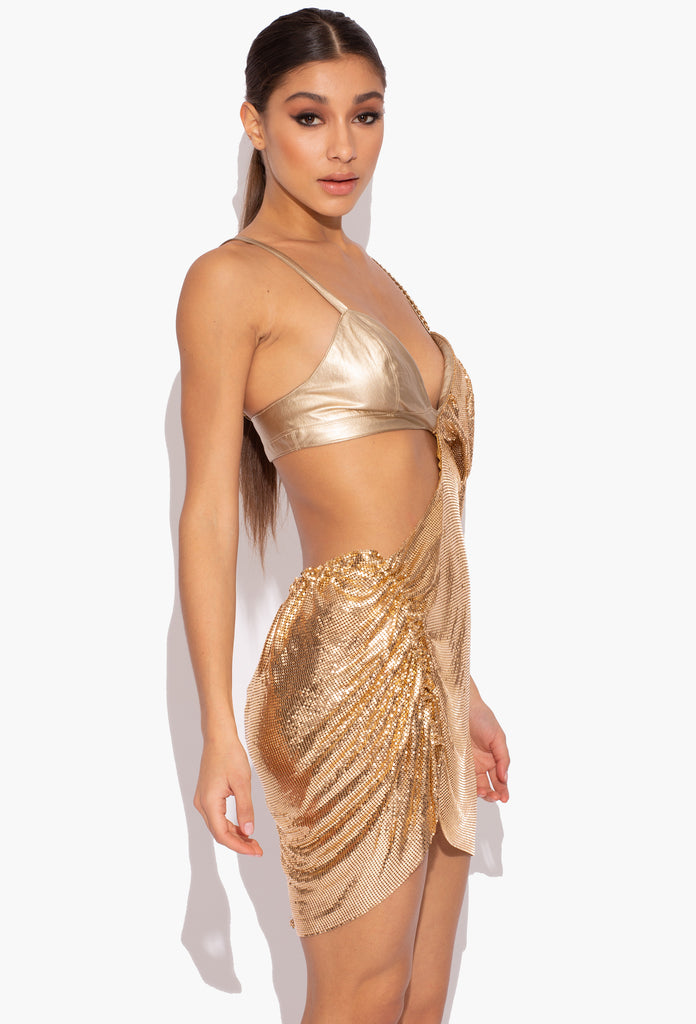 Gold Vegan Leatherette and Draped Gold Chainmail Dress