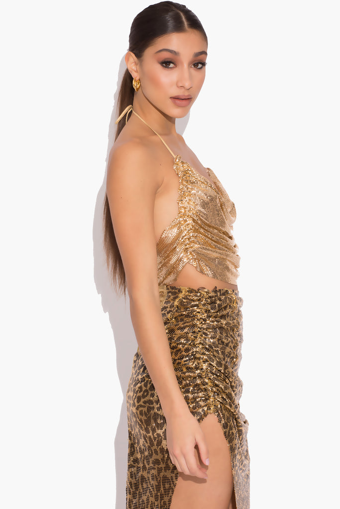 Kelsey Gold Ruched Chainmail Top
