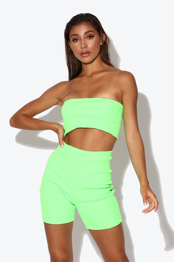 Teyana Neon Green Ribbed Co-ord