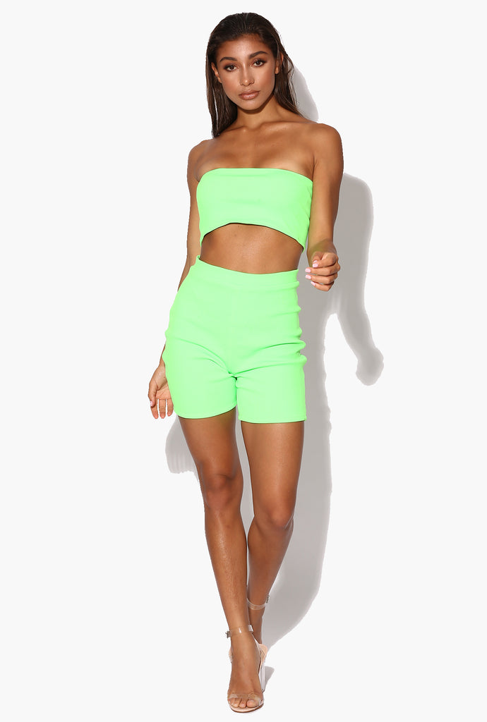 Teyana Neon Green Ribbed Biker Shorts