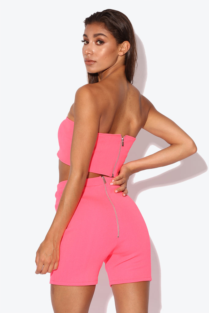 Teyana Neon Rose Pink Ribbed Co-ord