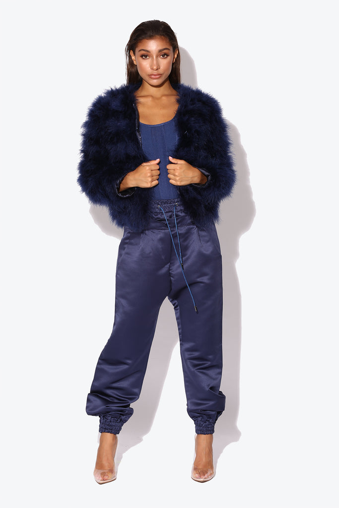 Navy Blue Harper Marabou Jacket
