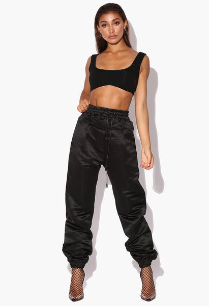 Tyra Black Double Waisted Satin Trousers