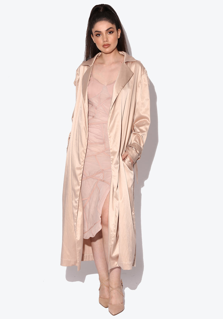 Mia Nude Silky Trench Coat