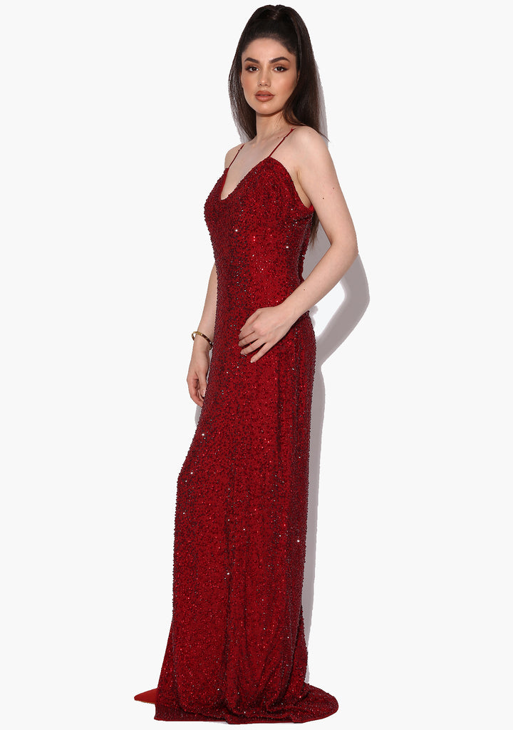 Scarlet Red Slit Rhinestone Evening Dress