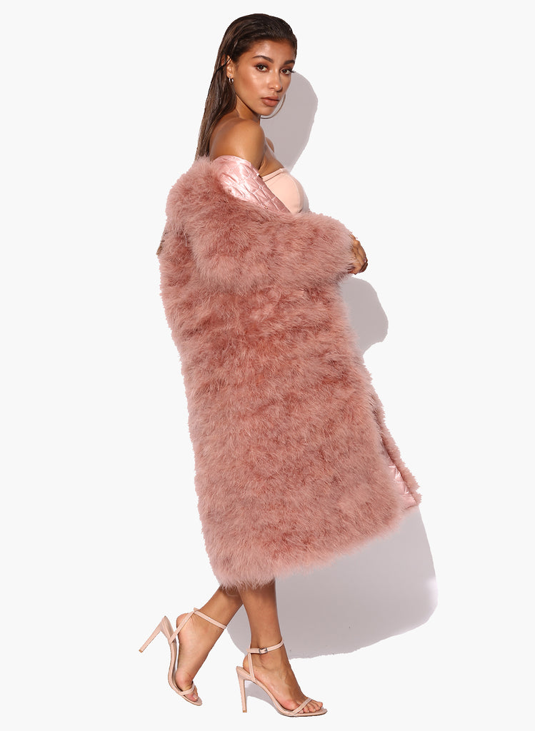 Blush Long Déjà Vu Marabou Jacket