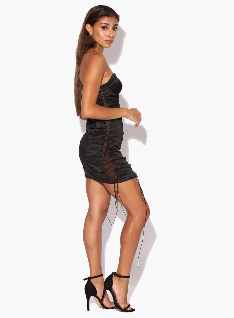 Isabel Black Satin Lace Up Dress