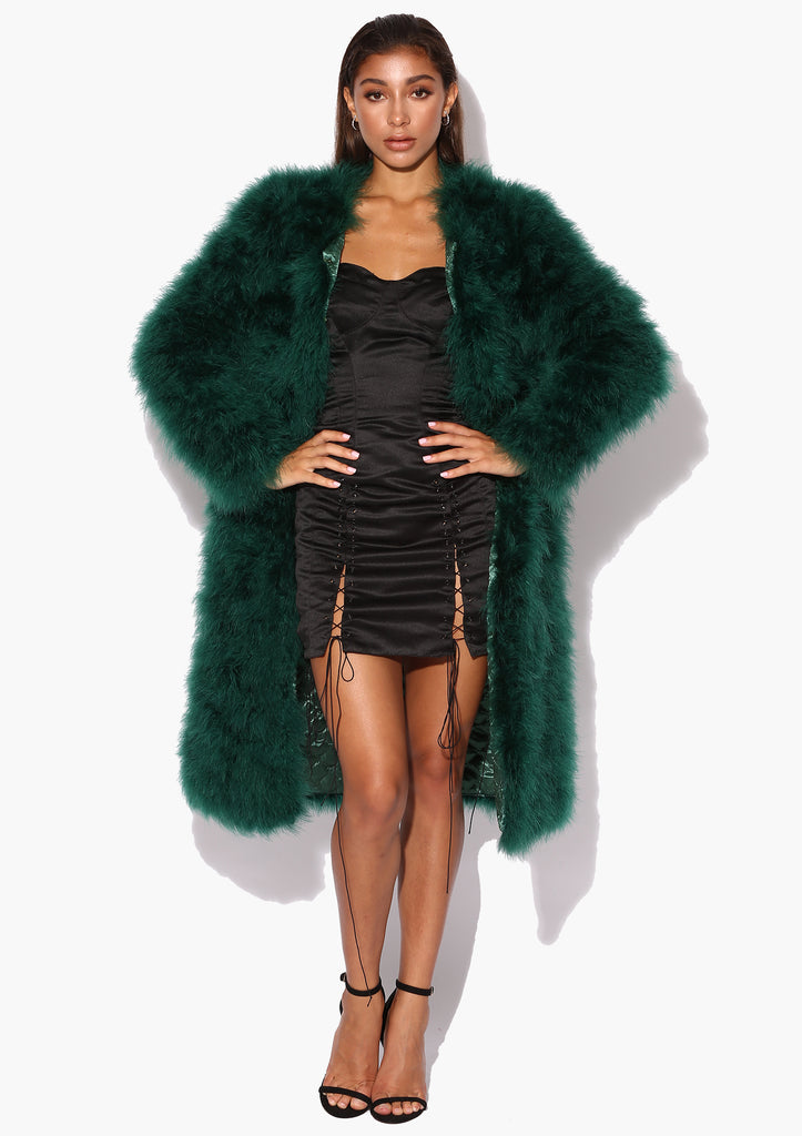 Emerald Green Long Déjà Vu Marabou Jacket