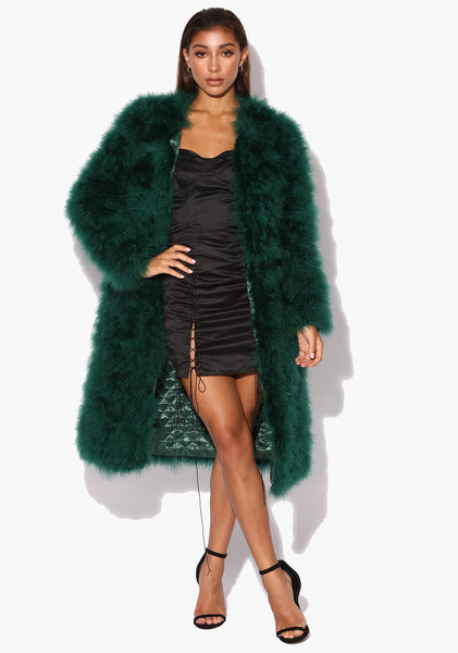 Emerald Green Long 'Harper' Maribou Jacket