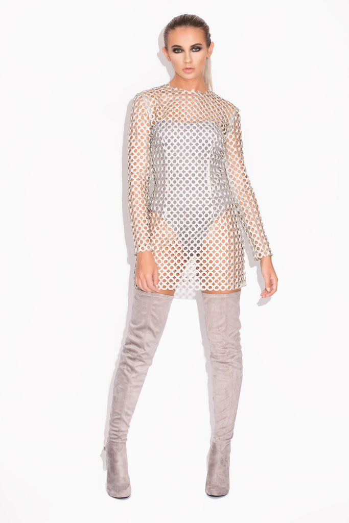 Farrah Silver Chainmail Dress