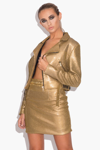 Casey Gold Biker Jacket