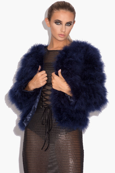Navy Blue 'Harper' Fluffy Jacket