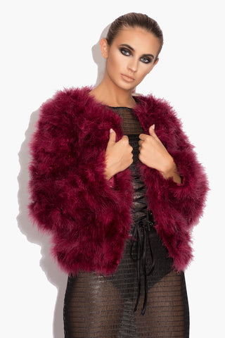 Maroon 'Harper' Fluffy Jacket