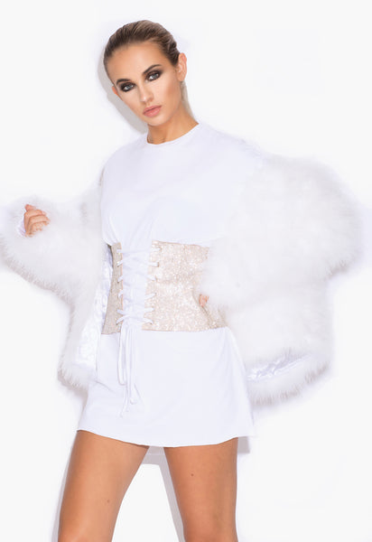 White 'Harper' Fluffy Jacket