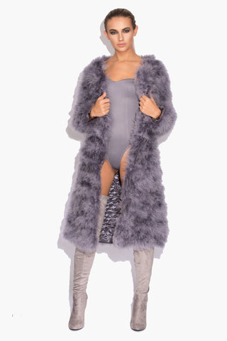 Grey Long 'Harper' Fluffy Jacket