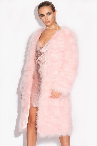 Baby Pink Long 'Harper' Fluffy Jacket