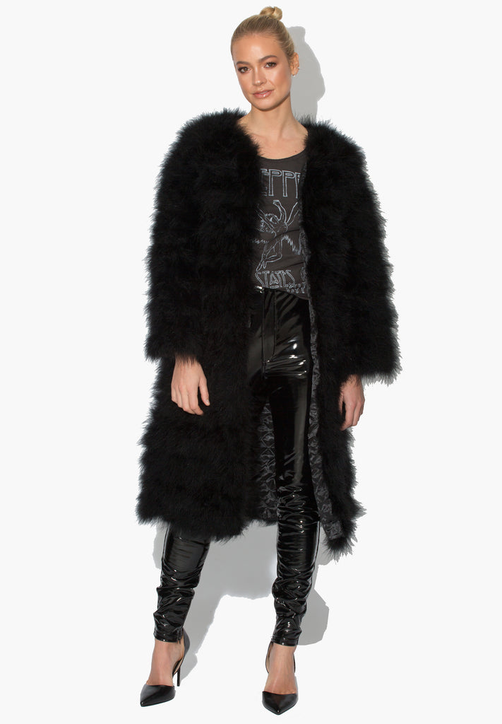 Black Long Déjà Vu Marabou Jacket