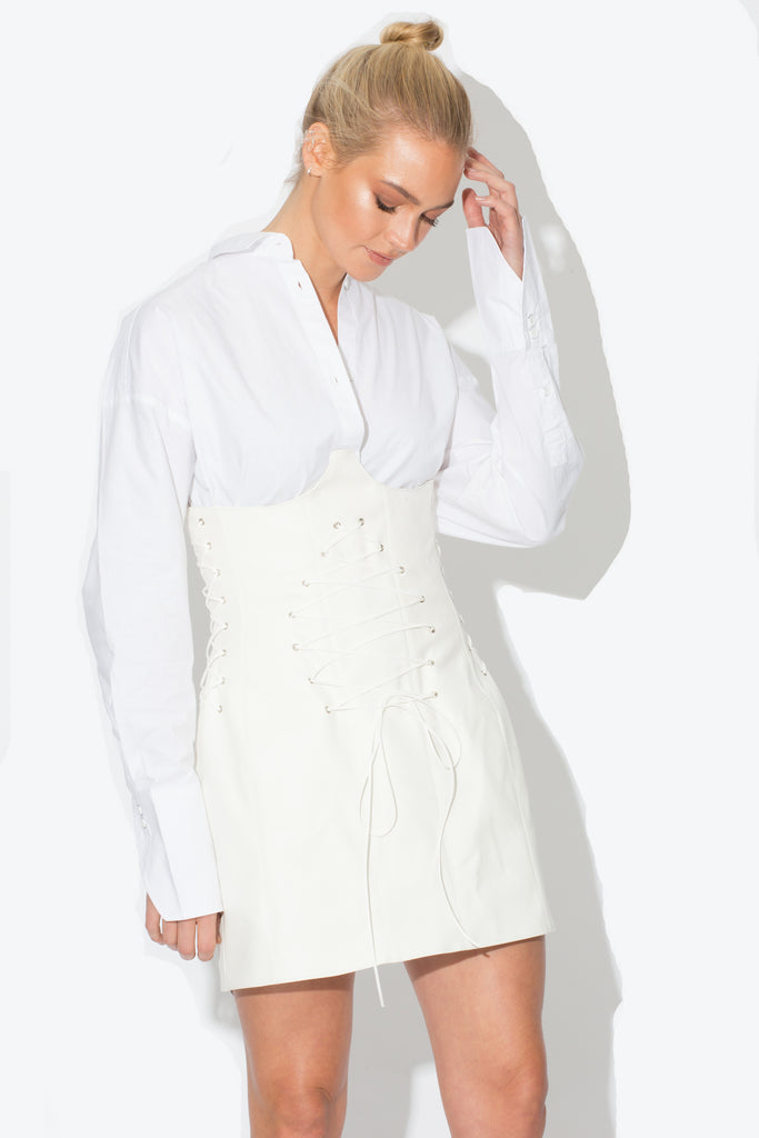 Elle Vegan White Underbust Skirt