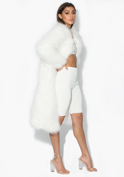 White Long Harper Marabou Jacket