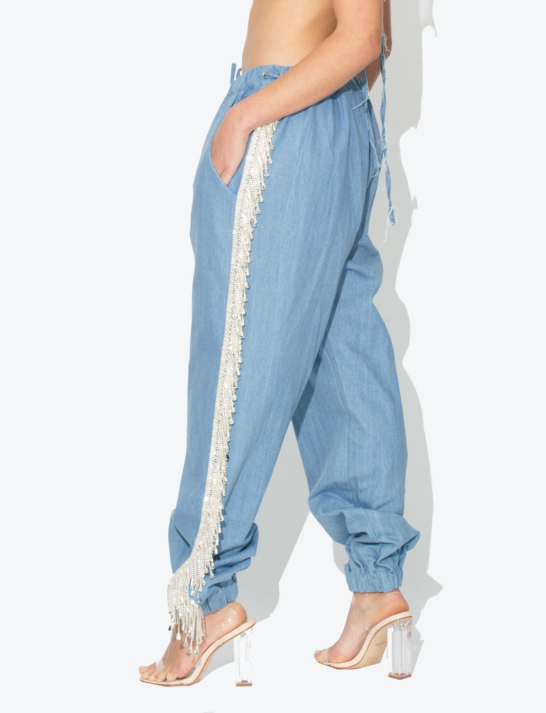 Marina Denim Crystal Fringe Trousers