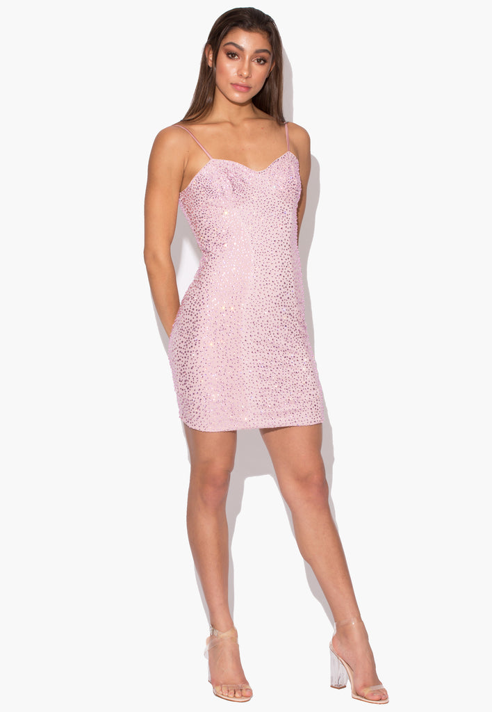 Venus Baby Pink Rhinestone Dress