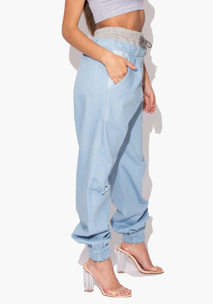 Valley Denim Jean Sweat Tracksuit Trousers