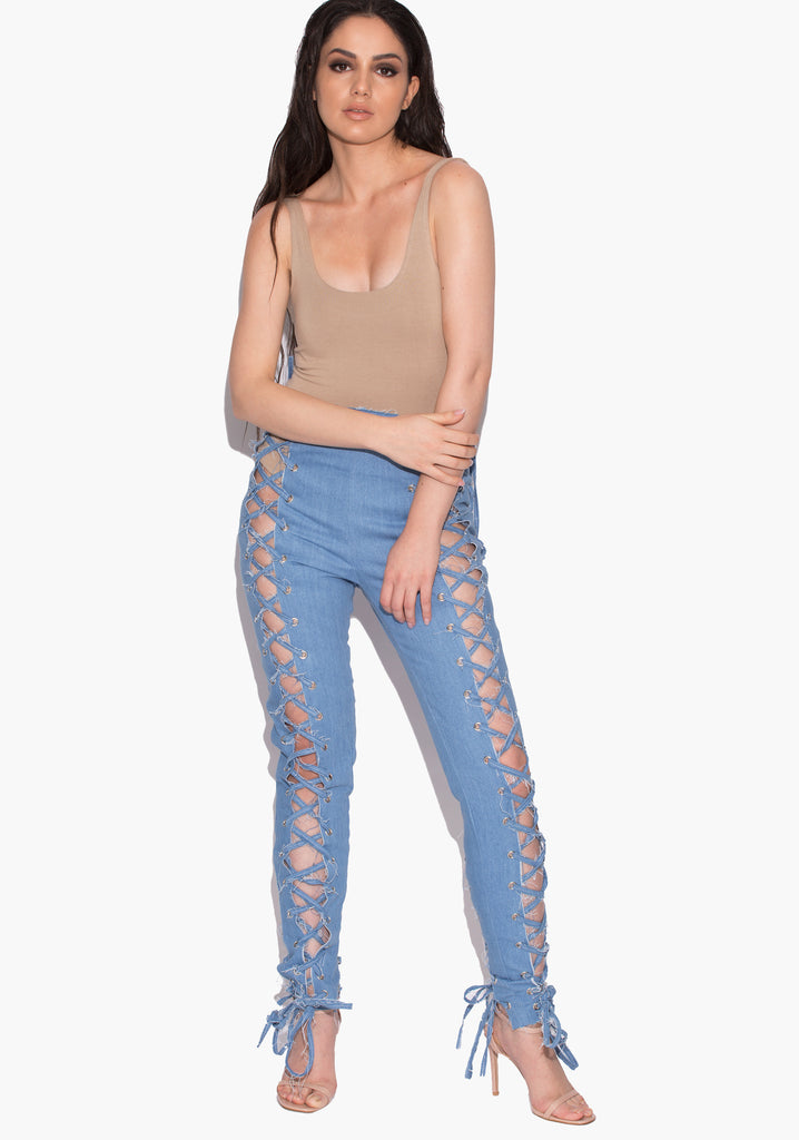 Kyleigh Denim Eyelet Trousers