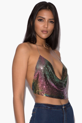 Lisa Oil Slick Chainmail Top