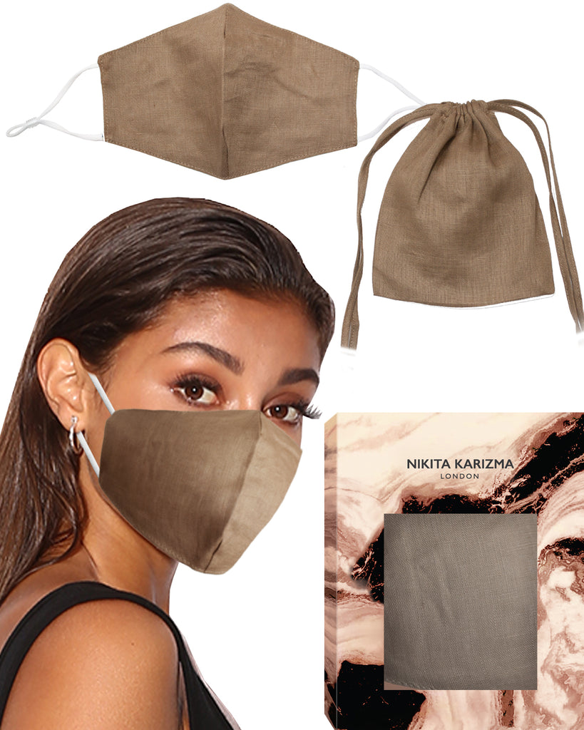 Linen Collection Brown Face Mask