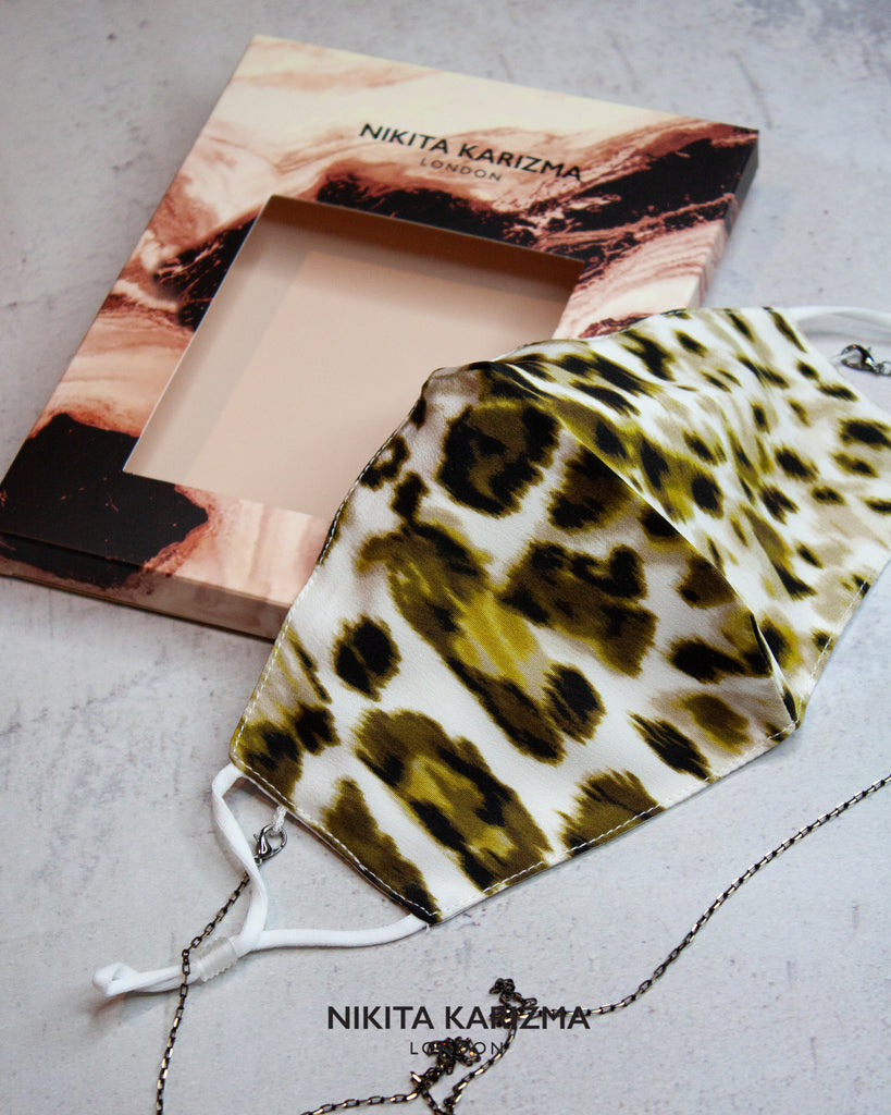 Chelsea Chain Mask in Animal Print Face Mask by KARIZMA Fabric Face Mask 1 Mask