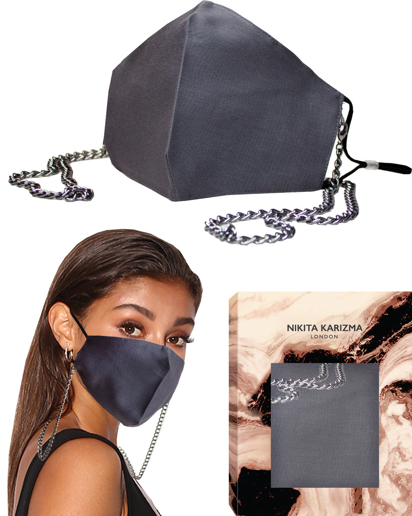 Chelsea Chain Mask in Grey Face Mask by KARIZMA Fabric Face Mask 1 Mask