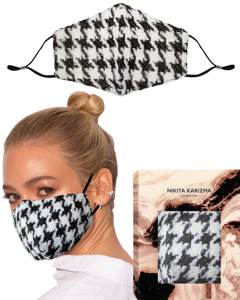 Wool Collection in Houndstooth Face Mask by KARIZMA Fabric Face Mask 1 Piece