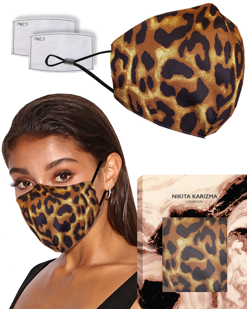 Leopard Face Mask by KARIZMA Fabric Face Mask 1 Face Mask with 2 Filters
