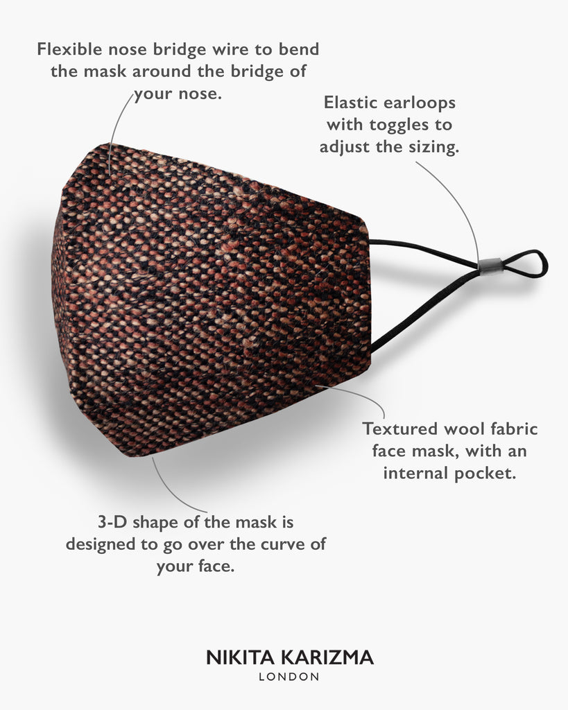 Wool Collection in Oxford Face Mask by KARIZMA Fabric Face Mask 1 Piece