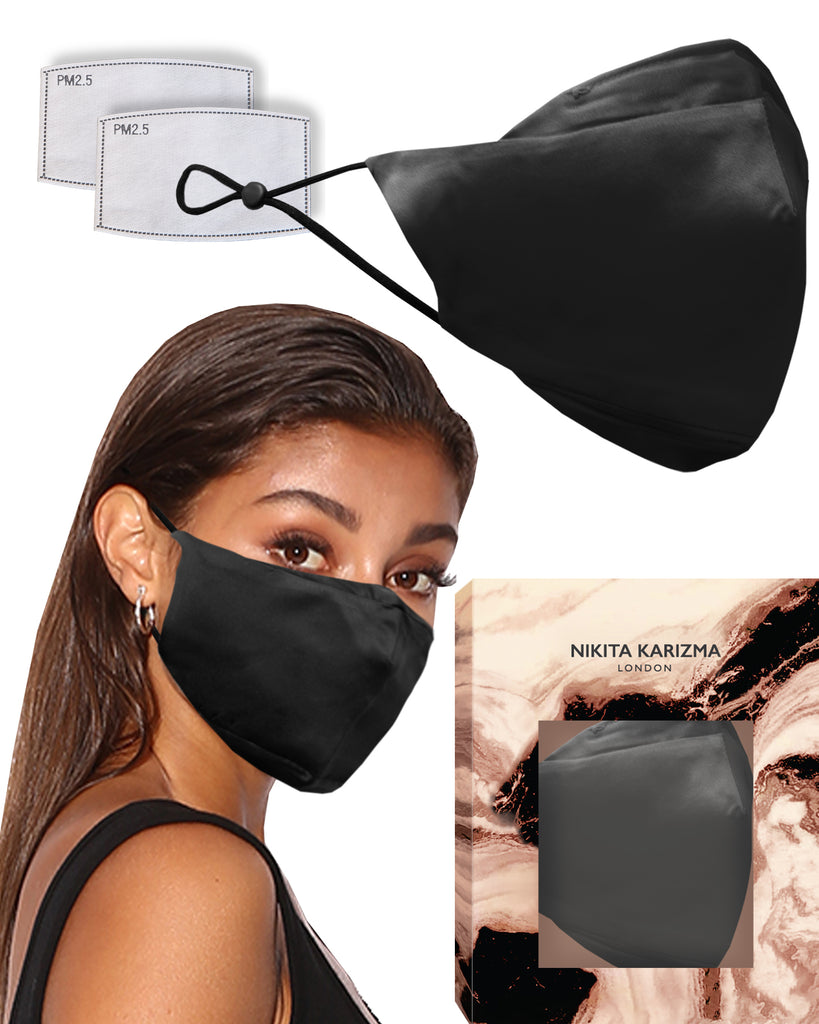 90210 Silk Mask in Black by KARIZMA 19 Momme 100% Mulberry Silk 6A Grade Fabric Face Mask with 2 filters