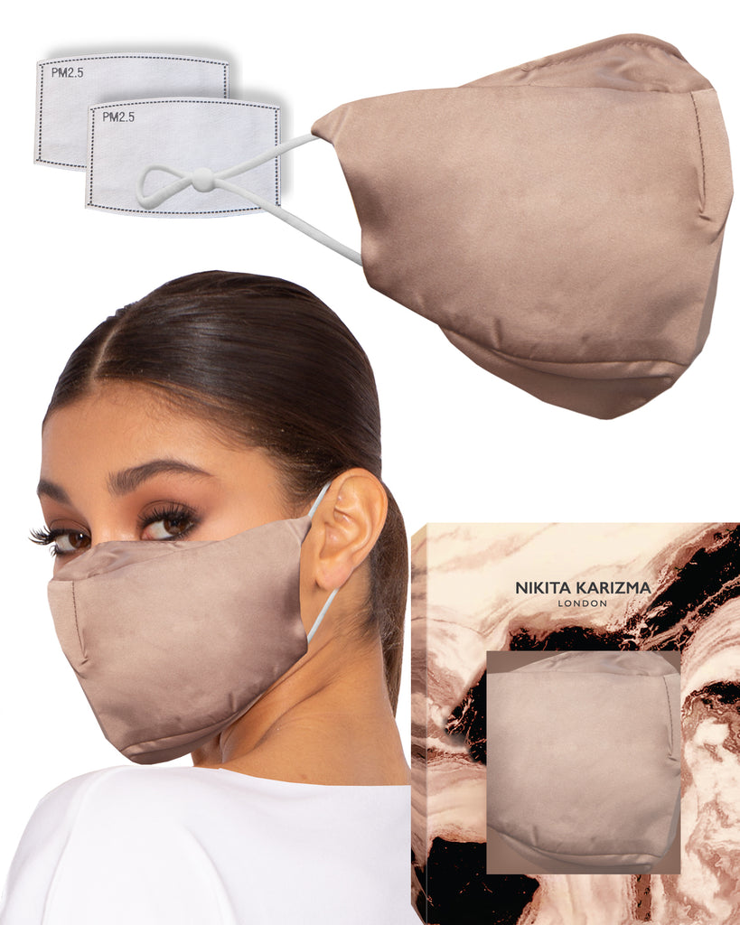 90210 Silk Mask in Taupe by KARIZMA 19 Momme 100% Mulberry Silk 6A Grade Fabric Face Mask with 2 filters